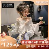 奇米迪 洋气女童春装2019新款棉质儿童一字肩衬衫女孩娃娃衫衬衫