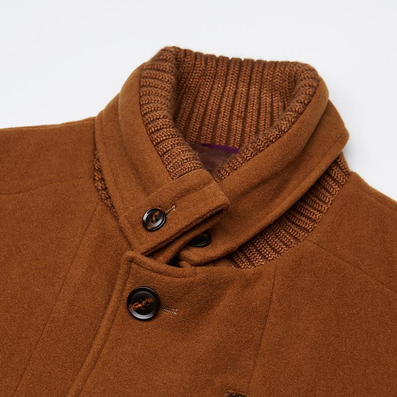 LOYOU秋冬新款大衣男士中长款外套翻领加厚羊毛皮衣修身休闲