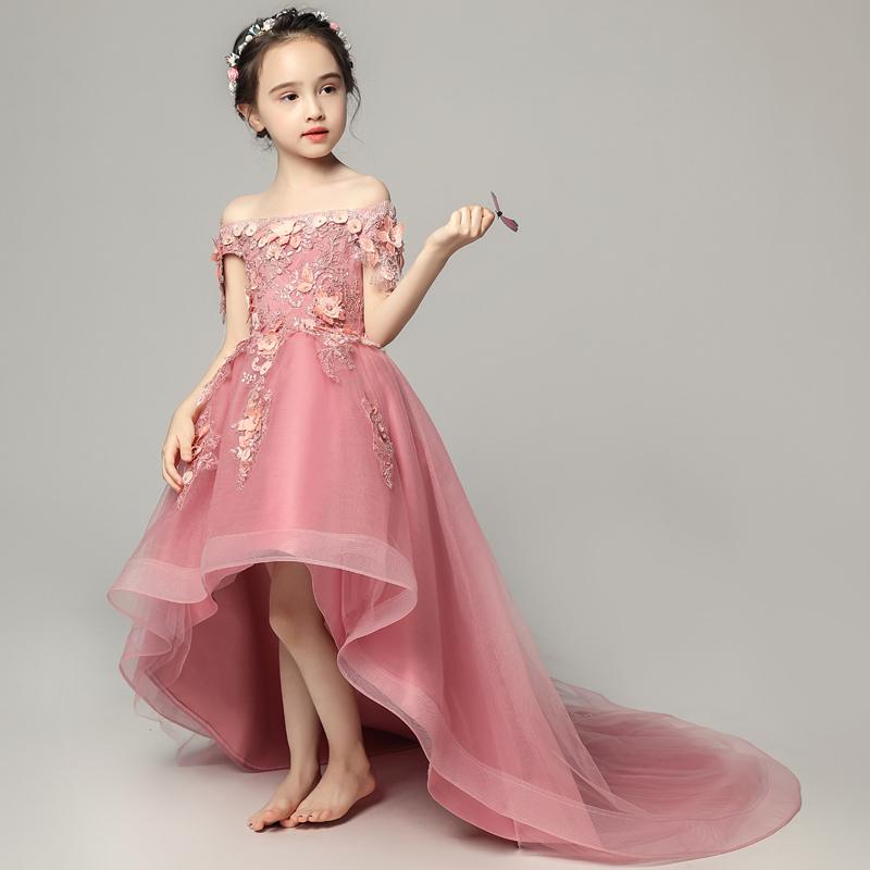 儿童晚礼服公主裙主持人小婚纱女童长拖尾女孩模特走秀演出服春夏
