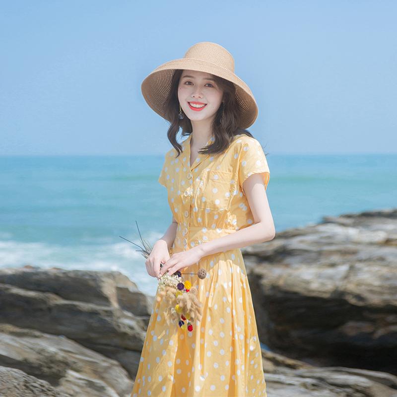 2019夏季新款女装流行裙子收腰小清晰法国小众复古波点连衣裙过膝