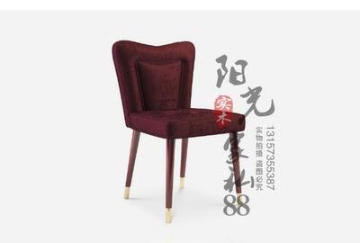 新款美式软包实木餐椅现代简约高背不锈钢脚椅高档酒店咖啡洽谈椅