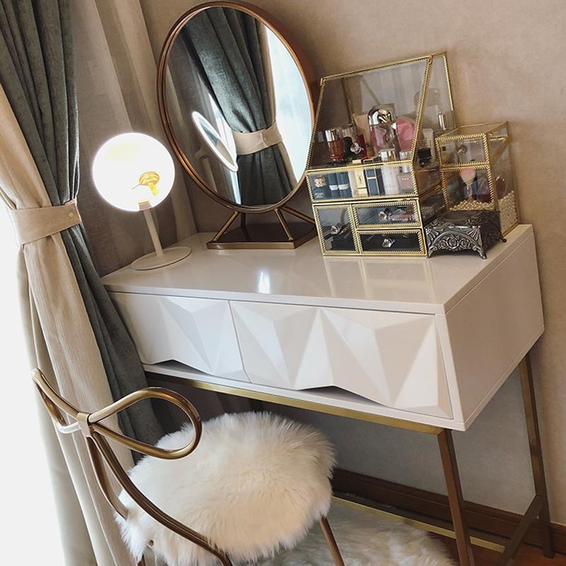 北欧ins风梳妆台现代简约不锈钢网红小户型卧室迷你化妆桌轻奢
