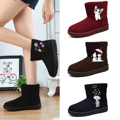 天天特价冬季加绒雪地靴子 手绘女鞋保暖棉靴防滑短靴女 学生棉鞋