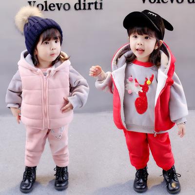 女宝宝冬装套装儿童加绒加厚三件套婴儿纯棉1-3周岁男童冬季衣服