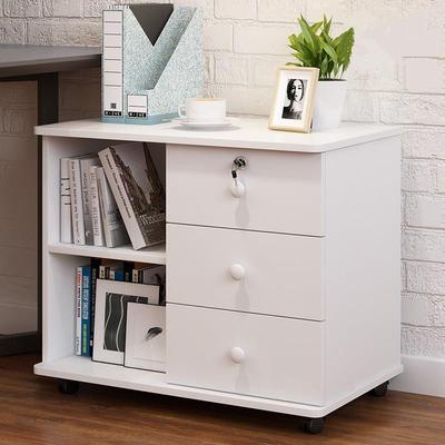 木制文件多层小抽屉柜带锁办公室电脑书桌下储物移动收纳矮柜