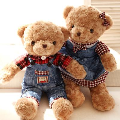 毛绒玩具大号情侣抱抱熊小熊牛仔泰迪熊公仔一对情人节生日礼物女多少钱