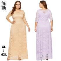 新款欧美女装晚礼服长裙口袋品牌秋装修身蕾丝七分袖连衣裙女大码