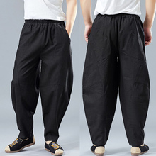 Chinese Men's Wear Spring and Summer New Cotton and Linen Cloth Loose Leisure Retro-classical Literature and Art Buddhist Zen Flax Pants