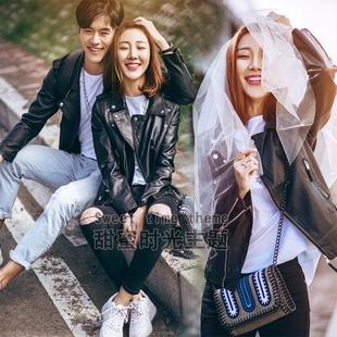 2017新款影楼主题服装外景旅拍婚纱摄影城市街拍情侣拍照写真皮衣