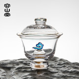 Yungshan Tang original gift-colored glass cover bowl teacup heat-resistant gold leaf skit cup fair cup cup set