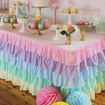 一次性甜品台彩色桌裙塑料桌布宝宝生日宴拍照派对背景墙布帘装饰