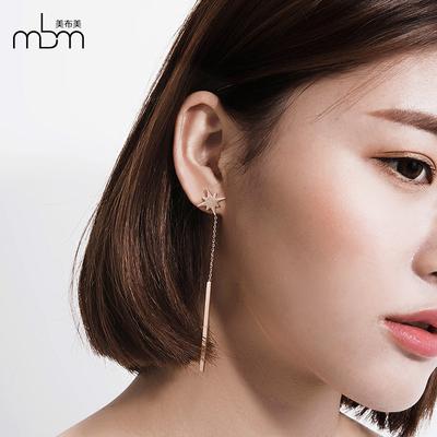 韩国海星女气质八角星星耳坠优雅大气镀玫瑰金钛钢长条耳钉耳饰品