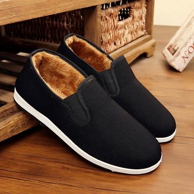 冬季男棉鞋老北京中老年布鞋爸爸加绒防滑工作鞋加厚保暖老头棉鞋