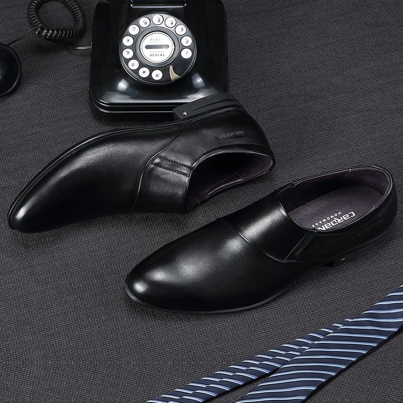 卡丹路真皮商务男鞋2018秋季新款正装皮鞋懒人潮鞋英伦尖头德比鞋
