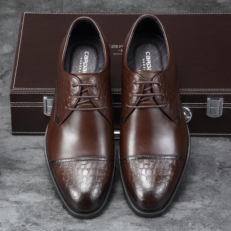 卡丹路男鞋商务皮鞋男士真皮正装鞋2018秋季新款结婚鞋系带德比鞋