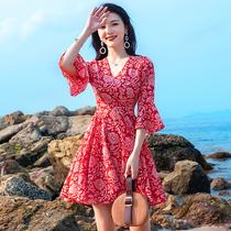红色小个子雪纺连衣裙女夏季2019新款海边度假碎花沙滩裙超仙短裙