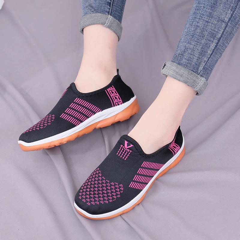 春秋季新款单鞋老北京布鞋女鞋运动休闲鞋牛筋套脚软底防滑妈妈鞋