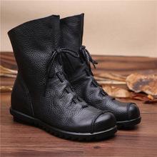 单靴 民族风头层牛皮短靴女平底软底舒适防滑加绒棉靴低跟复古大码图片