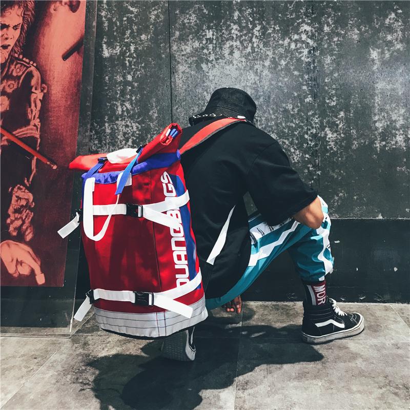 ins超火书包学生大容量新款潮牌卷盖双肩包男女时尚韩版嘻哈背包