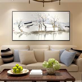 现代中式客厅装饰画吴冠中双燕抽象水墨国画横幅挂画卧室书房挂画