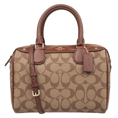 COACH 蔻驰 奢侈品 女士卡其棕色PVC手提肩背斜挎波士顿包 F58312