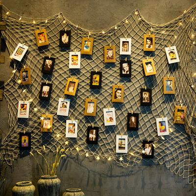 渔网照片墙创意网格麻绳夹子相框墙宿舍背景墙面装饰diy组合个性