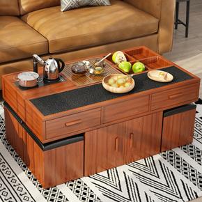 现代简约火烧石功夫茶几茶桌椅组合大理石实木客厅多功能办公茶台