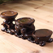 Decoration base bracket solid wood round purple sand teapot Buddha statue small vase crafts meaty flower pot tray square