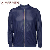 Mr. Aimu Brand Mesh Collar Leisure Slim Open-top Men's Long Sleeve Jacket 81A171