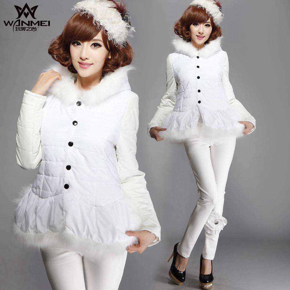 毛毛领白色棉衣