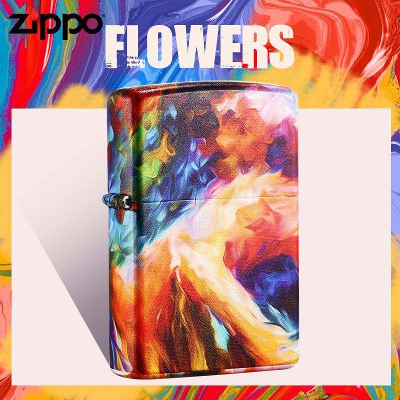 zippo打火机正品 新款涂鸦爱情碰撞雨幕春色女郎 星空油画礼物