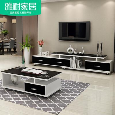 钢化玻璃伸缩茶几电视柜组合现代简约欧式小户型客厅迷你电视机柜价格