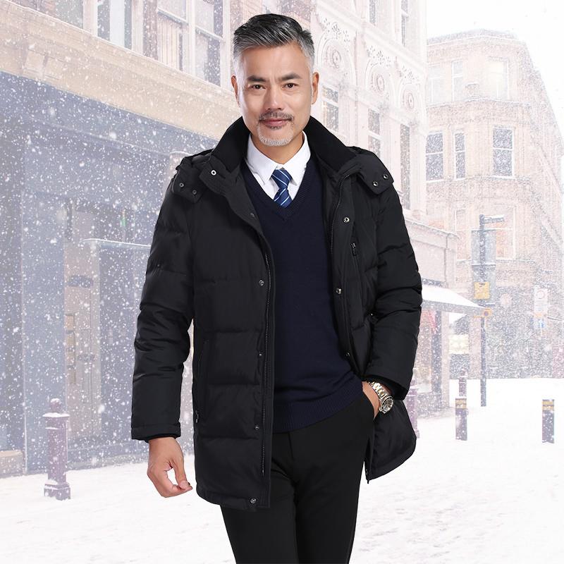 杰灵男士鹅绒羽绒服冬季加厚中长款中年40-50岁爸爸冬装商务外套