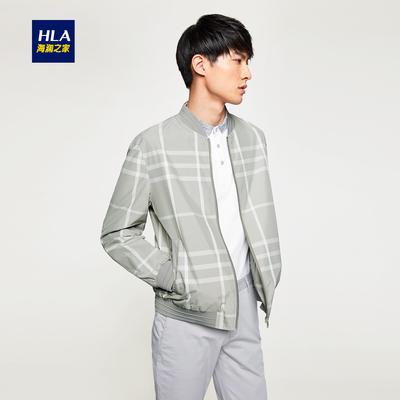 HLA/海澜之家棒球领格纹夹克2018春季新品休闲时尚外套男