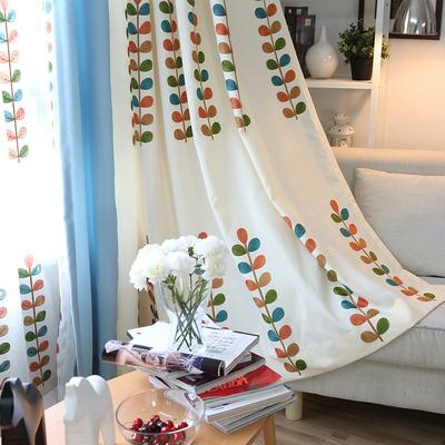 定做田園刺繡花樹葉遮光布拼接棉麻布料客廳落地窗定制窗簾成品紗性價比高嗎
