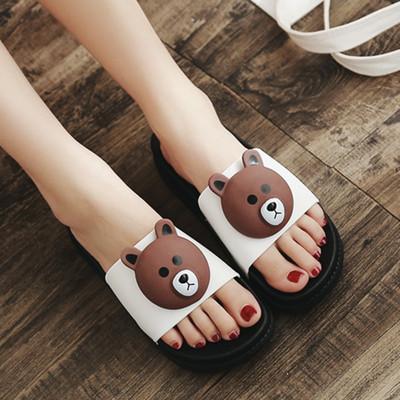 松糕厚底拖鞋女学生百搭坡跟凉拖一字拖中跟女鞋卡通小熊外穿凉鞋