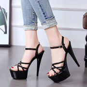 Hate high high heels 15cm fine with 15 cm female sandals waterproof platform sexy nightclub shoes model catwalk shoes