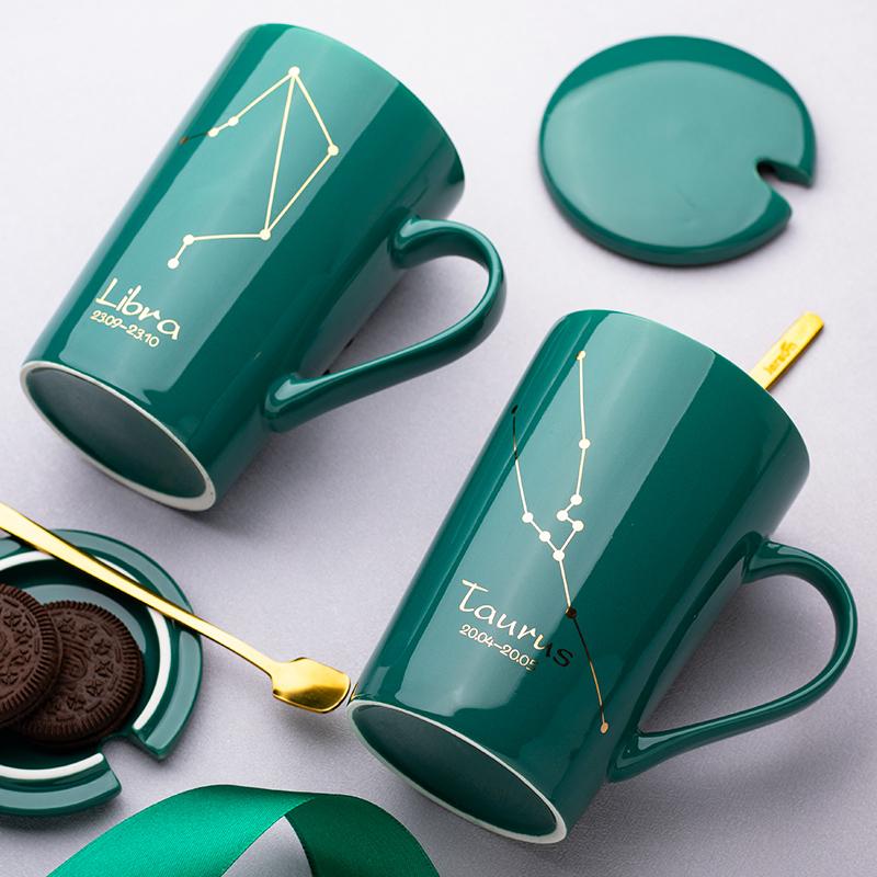 创意陶瓷杯马克喝水杯子男女情侣家用个性潮流牛奶咖啡茶杯带盖勺