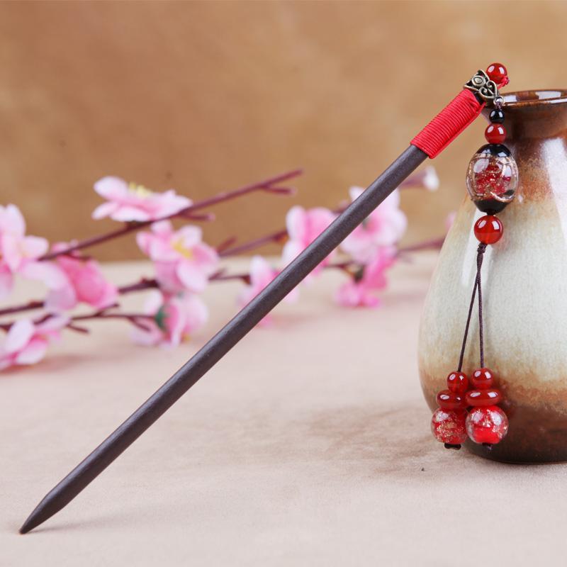 中式新娘琉璃发簪木簪子发饰民.