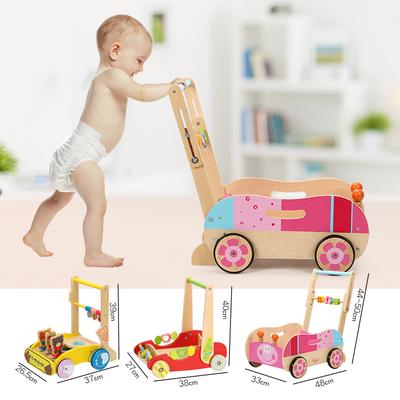 可调高 折叠婴儿学步车儿童玩具 多功能转弯木质宝宝手推车1-3岁