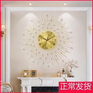 一红 现代个性简约钟表客厅创意挂钟家用静音时钟时尚挂表满天星