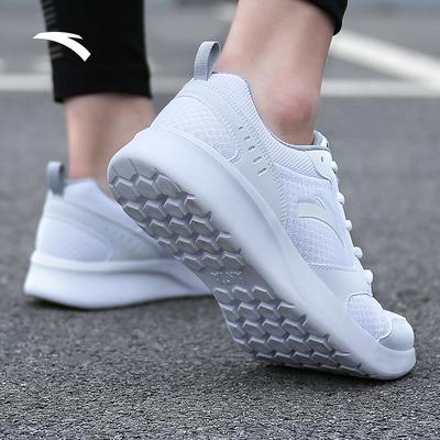 安踏官网男鞋跑步鞋2019夏季新款白色运动鞋男学生网面透气休闲鞋
