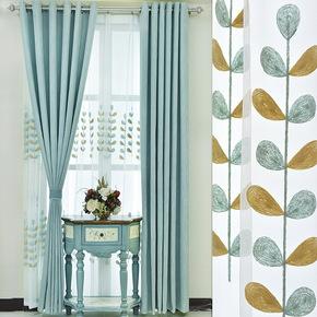 窗帘成品简约现代遮光纯色北欧卧室客厅飘窗落地ins百搭清新风格