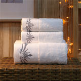 Five-star hotel dedicated cotton towel hotel bath towel set three-piece set of high-grade white cotton thickening custom