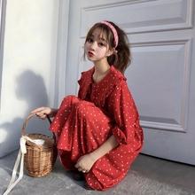 2018秋装 新款 甜美荷叶边娃娃领宽松中长款 红波点打底连衣裙女 韩版