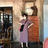 Roundshop  自制 复古格子直筒显瘦polo领连衣长裙 喜欢先收藏