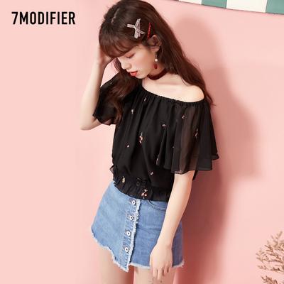 韩版衬衫7m2018夏季新品一字领罗纹韩版宽松学生雪纺印花衬衣女