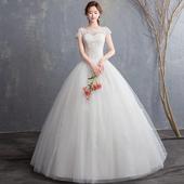 2019新款婚纱礼服一字肩齐地新娘结婚韩版立体花朵显瘦婚纱公主
