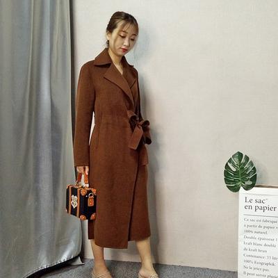 北京品牌专柜正品 100%双面羊绒大衣女 2018夏季新款腰带款外套