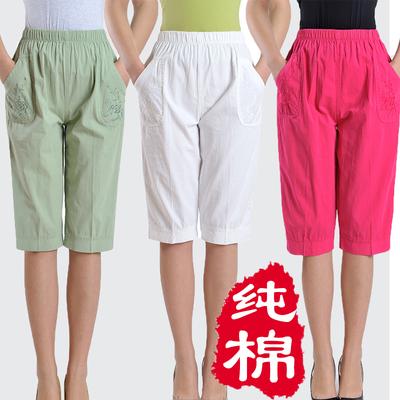 包邮夏装中老年人女装七分裤纯棉中年女松紧腰高腰加肥加大妈妈裤